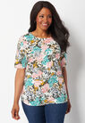 Artistic Floral Printed Plus Size Knit Tee at Christopher & Banks in Charleston, WV | Tuggl