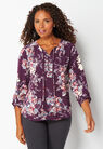 Tie Front Printed Blouse at Christopher & Banks in Charleston, WV   Tuggl