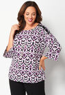 Easy Wear Graphic Printed Bell Sleeve Plus Size Top at Christopher & Banks in Charleston, WV | Tuggl