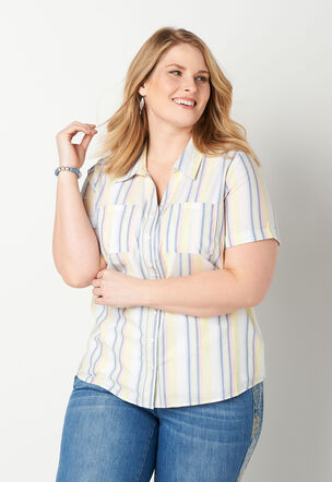 cac64b97d4 Striped Button Up Plus Size Camp Shirt