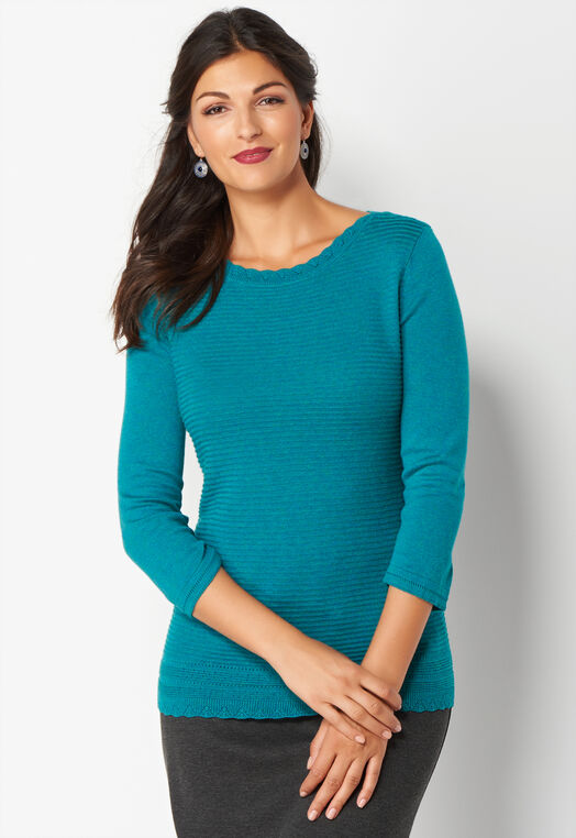 Pointelle Scallop Pullover Sweater at Christopher & Banks in Charleston, WV | Tuggl