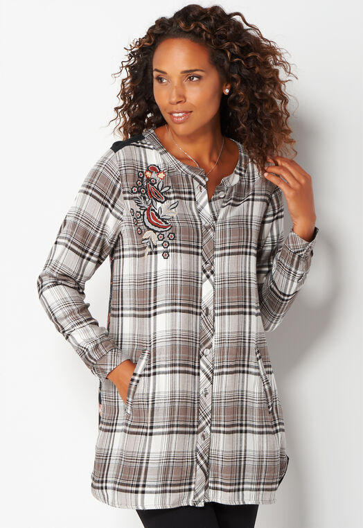Floral Mixed Plaid Blouse at Christopher & Banks in Charleston, WV | Tuggl