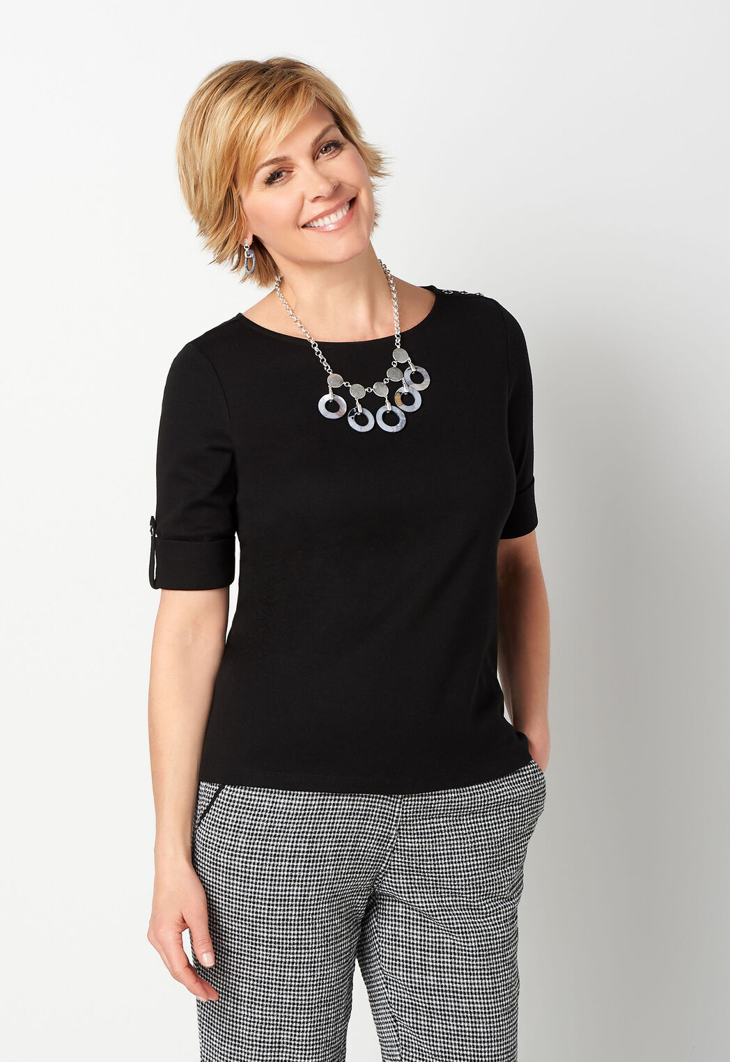 d75b63c29 ... Tops Solid Elbow Sleeve Shoulder Detail Boatneck. add to wish list · add  to wish list