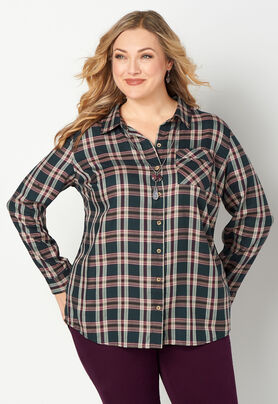 soft and light wide selection of colours and designs official sale Drapey Plus Size Plaid Shirt - CBK Web Store