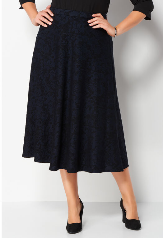 Floral Jacquard Plus Size Skirt at Christopher & Banks in Charleston, WV | Tuggl