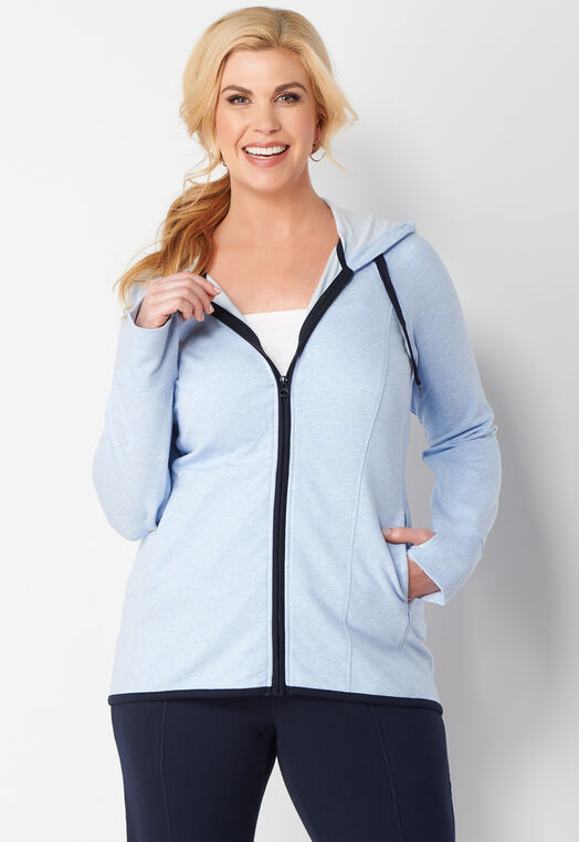 Relaxed Restyled Hi-Lo Plus Size Zip Up Hoodie at Christopher & Banks in Charleston, WV | Tuggl