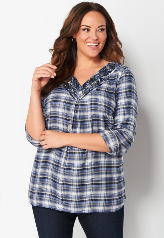 Embroidered Plaid Plus Size Tunic at Christopher & Banks in Charleston, WV | Tuggl