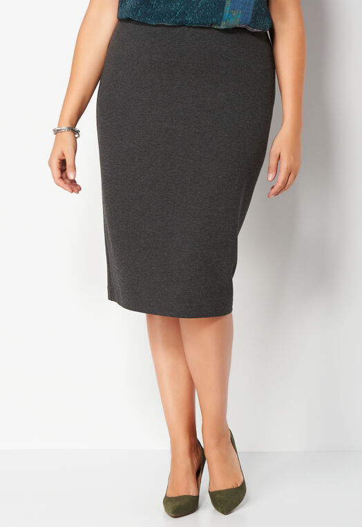 Heathered Straight Ponte Plus Size Skirt at Christopher & Banks in Charleston, WV | Tuggl