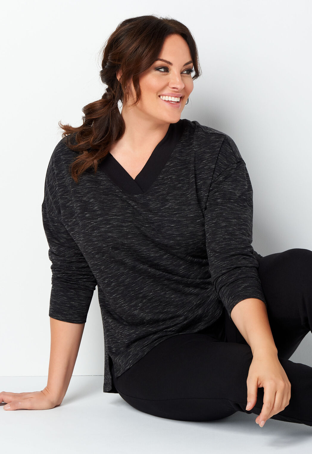 f41e9687e353f Relaxed Restyled Space Dye Plus Size V-Neck - CBK Web Store