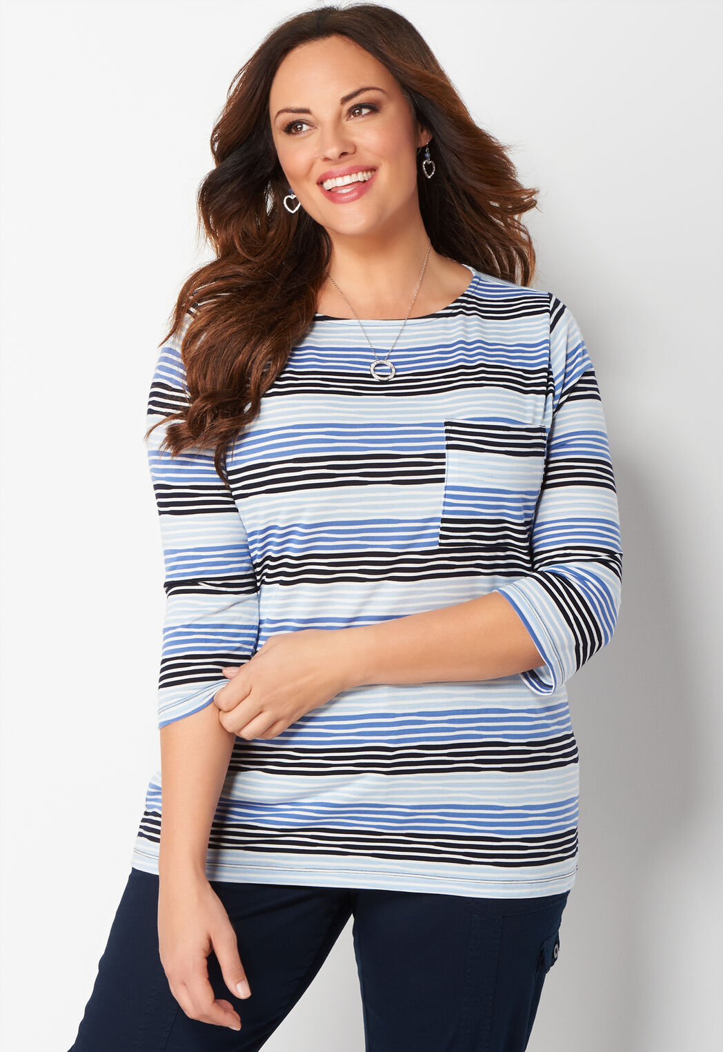 women's wavy knit striped plus size top from christopher & banks