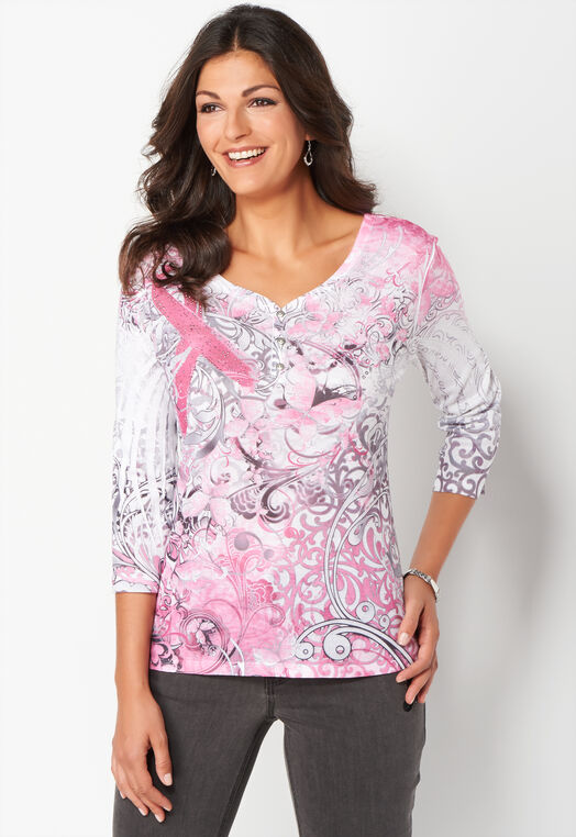 Courage Breast Cancer Awareness Knit Tee at Christopher & Banks in Charleston, WV | Tuggl