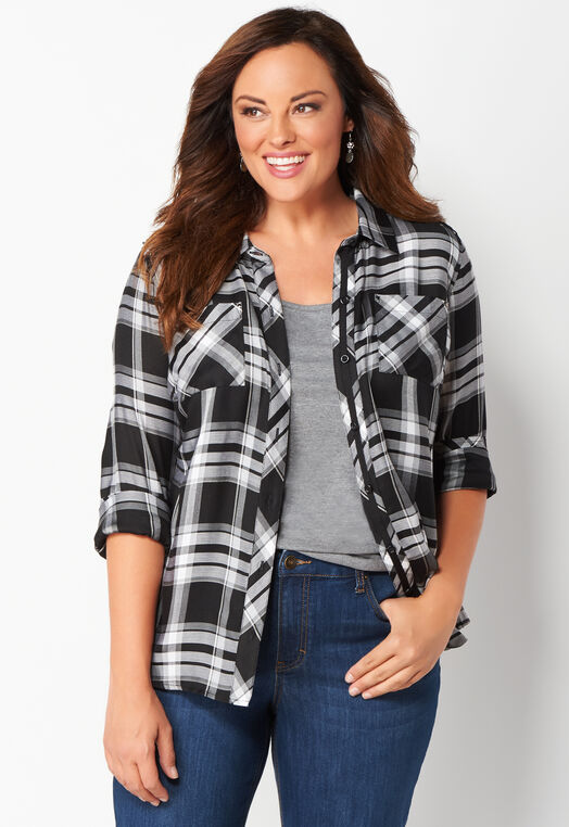 Studded Plaid Plus Size Shirt at Christopher & Banks in Charleston, WV | Tuggl