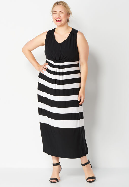 Sleeveless Gathered Front Stripe Maxi Plus Size Dress at Christopher & Banks in Charleston, WV | Tuggl
