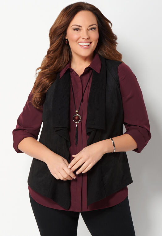 Faux Suede Rib Mixed Plus Size Vest at Christopher & Banks in Charleston, WV | Tuggl