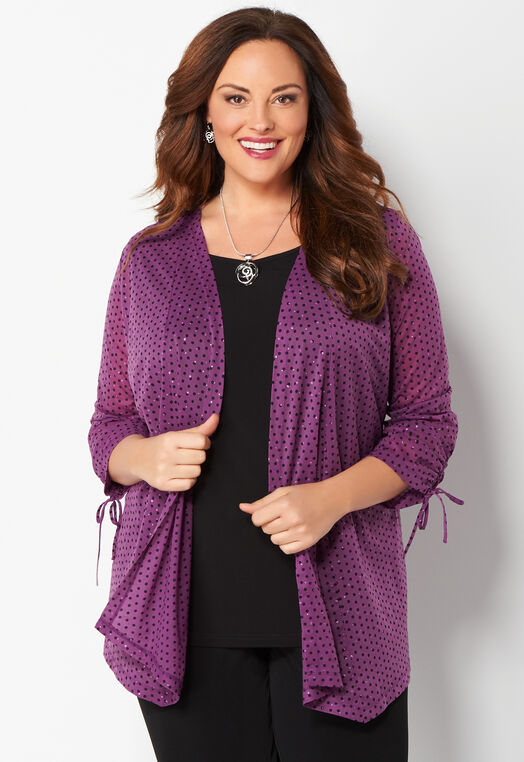 Easy Wear Chiffon Glitter Dot Plus Size Two-For-One at Christopher & Banks in Charleston, WV | Tuggl