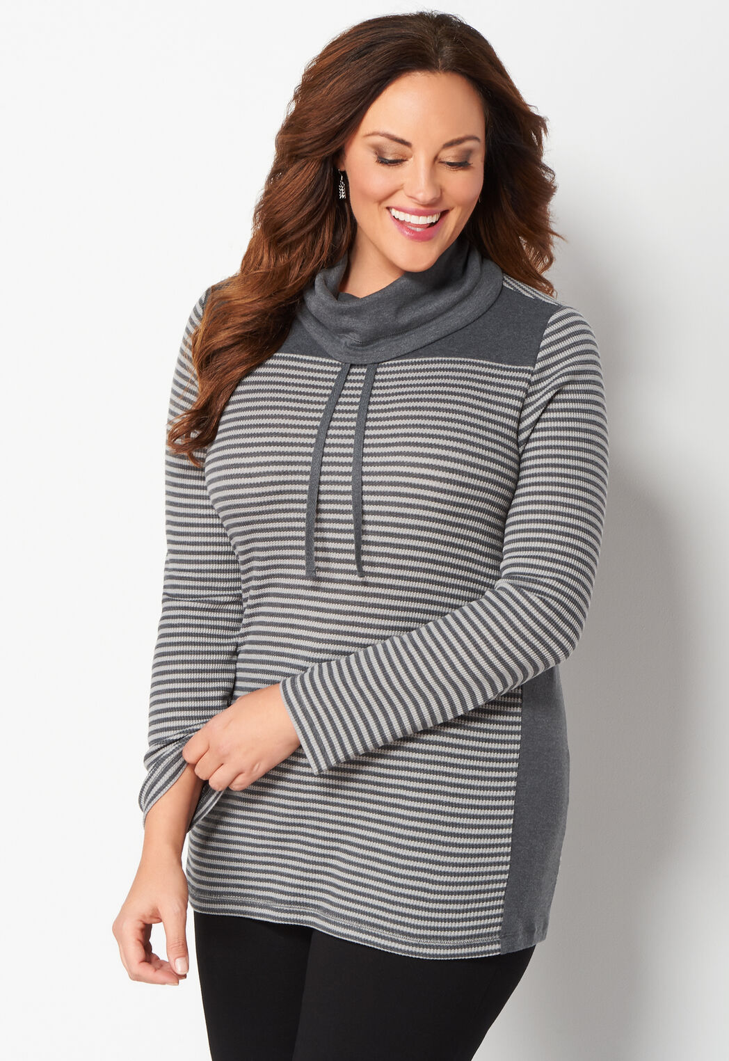 women's striped funnel neck thermal plus size knit top from