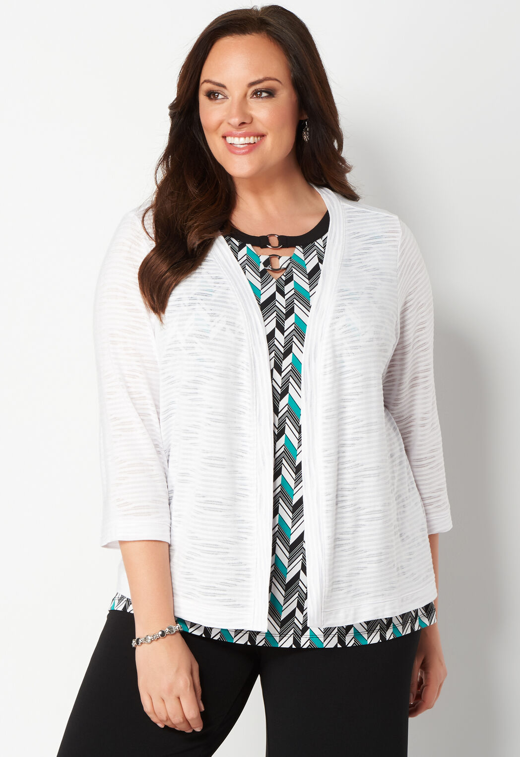 5a88b345f2aef Women s Easy Wear Textured Plus Size Cardigan from Christopher   Banks®