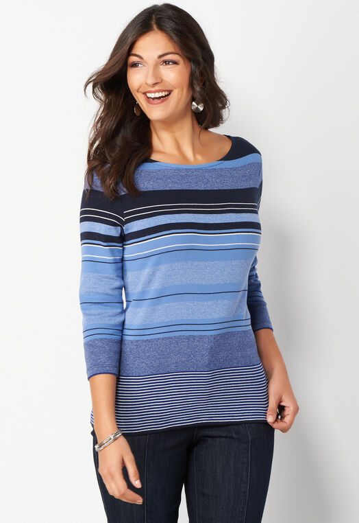 Variegated Stripe Petite Size Knit Tee at Christopher & Banks in Charleston, WV | Tuggl