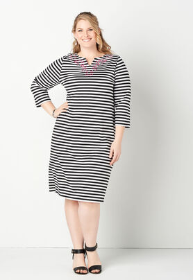 3/4 Sleeve Embroidered Stripe Plus Size Dress - CBK Web Store