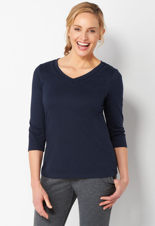 Relaxed Restyled Neckline Detail Petite Tee at Christopher & Banks in Charleston, WV | Tuggl