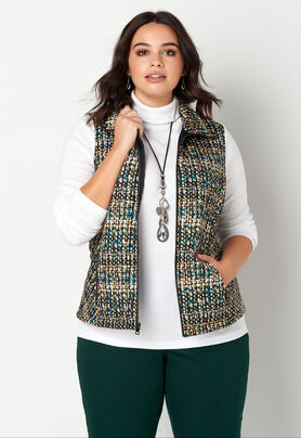 18be7d13205 Women s Tweed Printed Quilted Ves from CJ Banks®