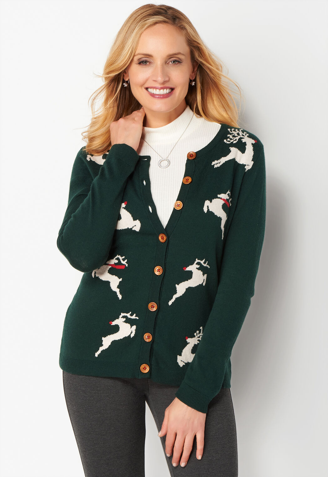 Women's Reindeer Button Front Cardigan Sweater from Christopher ...
