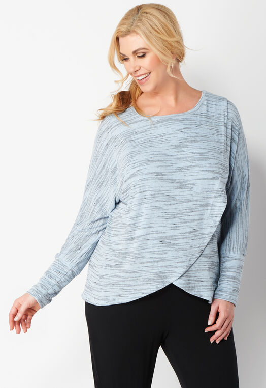 Relaxed Restyled Space Dye Crossover Plus Size Top at Christopher & Banks in Charleston, WV | Tuggl