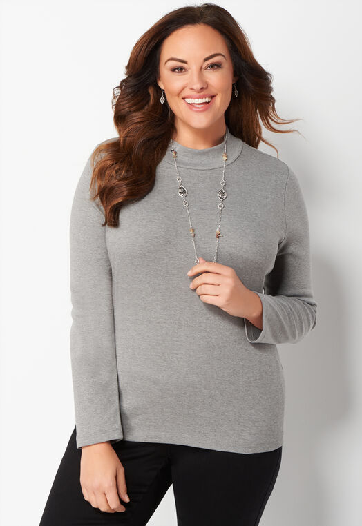 Heather Long Sleeve Essential Mockneck Plus Size Tee at Christopher & Banks in Charleston, WV | Tuggl