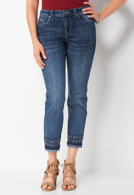 Signature Slimming Embroidered Cuff Denim Petite Ankle Pant at Christopher & Banks in Charleston, WV | Tuggl