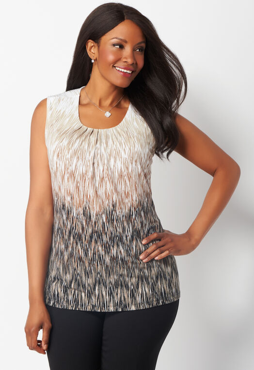 Striated Lines Pleated Layering Plus Size Tank at Christopher & Banks in Charleston, WV | Tuggl