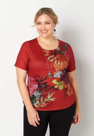 922a11368f1892 Stripe Tropical Floral Shirttail Plus Size Tee