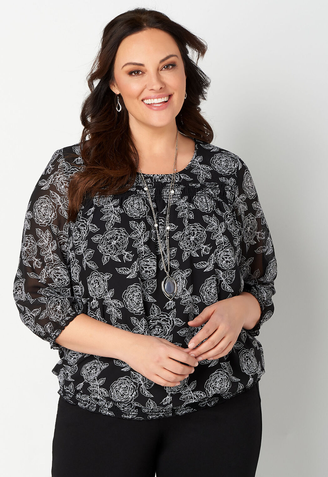 Allover Floral Printed Banded Bottom Blouse Cbk Web Store