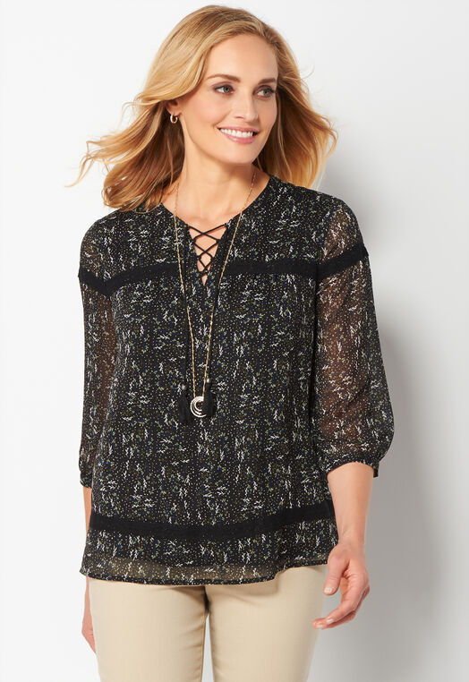 Crochet Trim Ditsy Peasant Blouse at Christopher & Banks in Charleston, WV | Tuggl