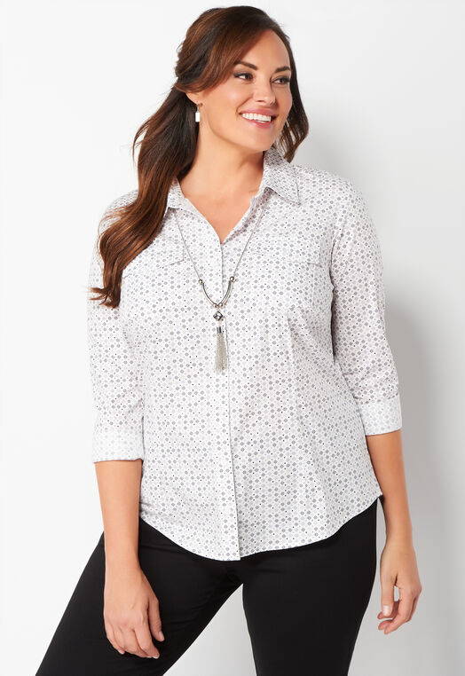 Tile Printed Plus Size Shirt at Christopher & Banks in Charleston, WV | Tuggl