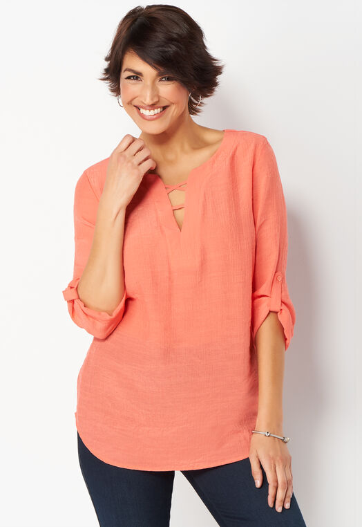 Solid Split Neck Petite Blouse at Christopher & Banks in Charleston, WV | Tuggl