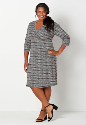 Easy Wear Printed Crossover Plus Size Dress - CBK Web Store