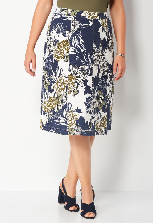 Floral Collage Textured Plus Size Skirt at Christopher & Banks in Charleston, WV | Tuggl