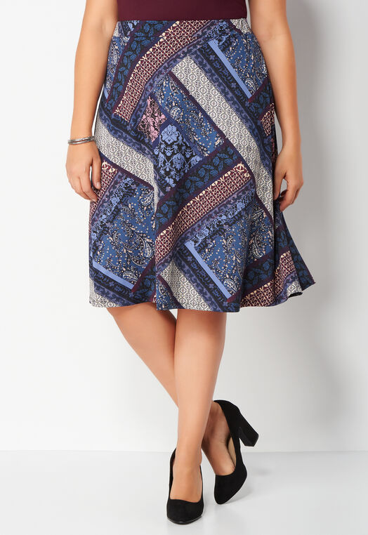 Patchwork Print Plus Size Skirt at Christopher & Banks in Charleston, WV | Tuggl