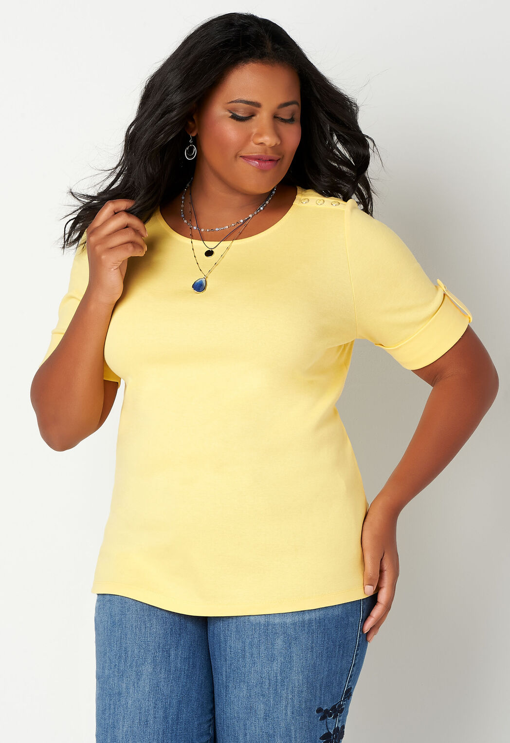 a897aa58 Solid Elbow Sleeve Shoulder Detail Plus Size Boatneck - CBK Web Store