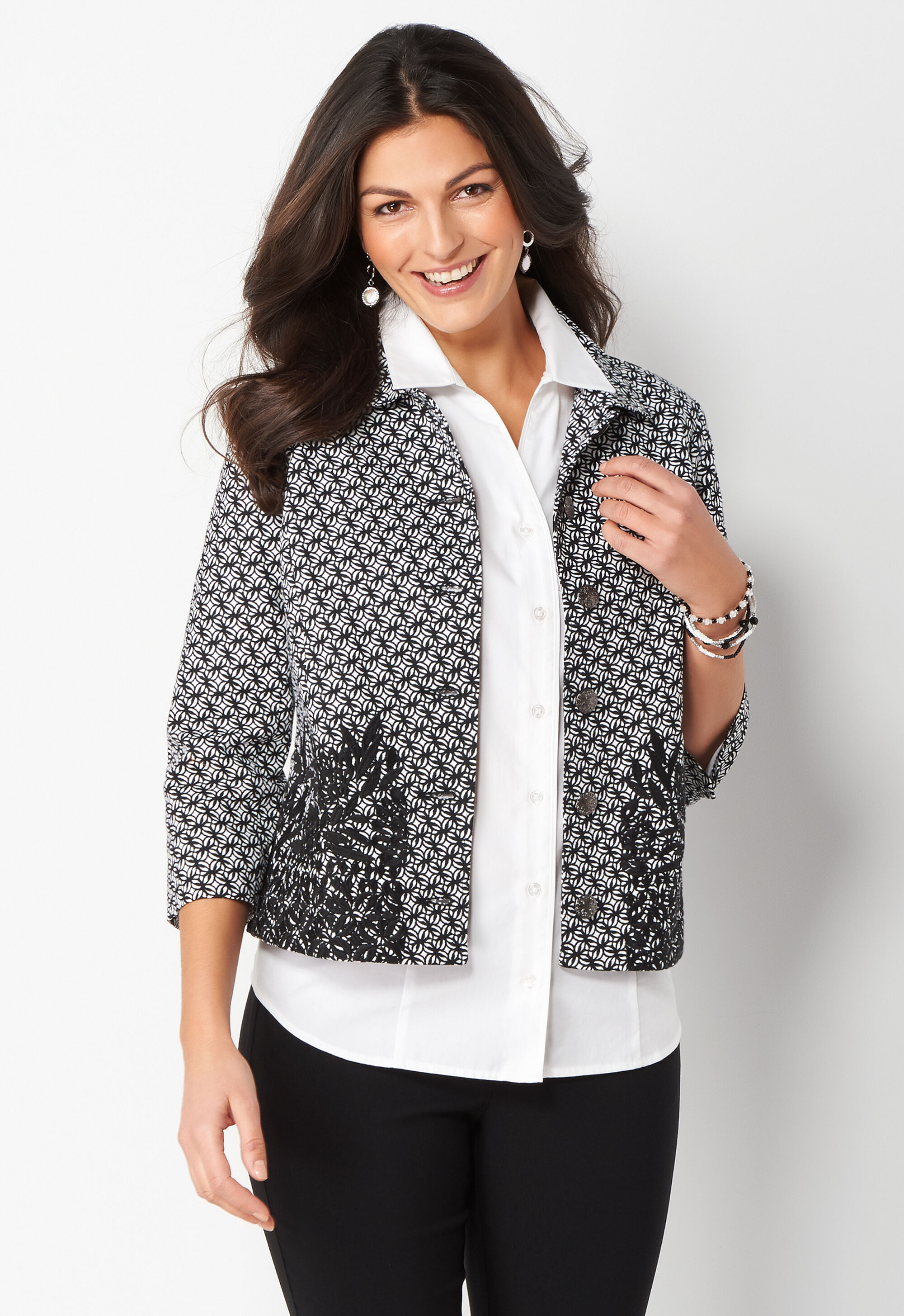 Embroidered Jacquard Petite Jacket