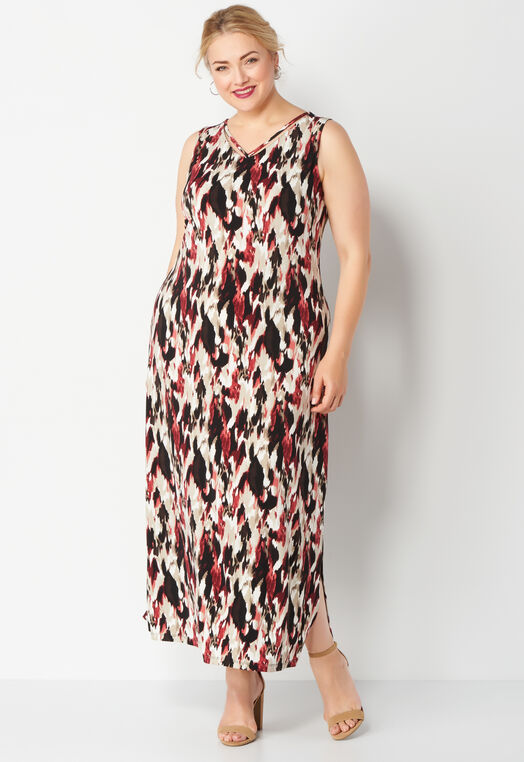 Blurred Print Plus Size Maxi Dress at Christopher & Banks in Charleston, WV | Tuggl