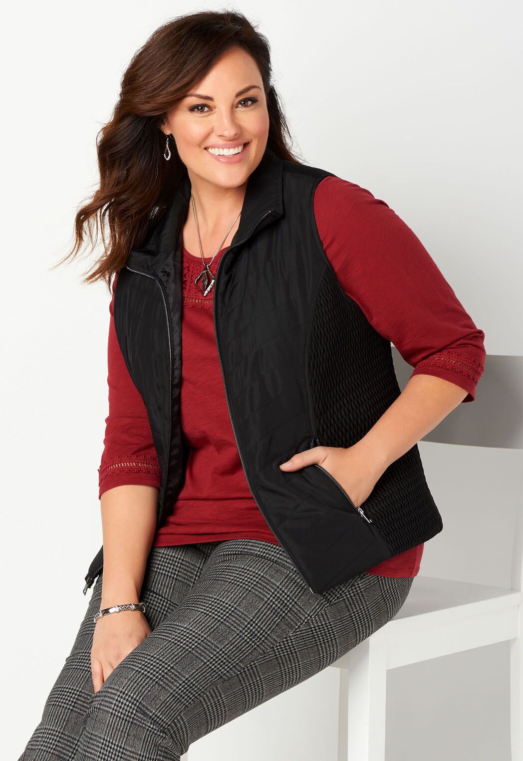 a99382f4b94 Smocked Solid Quilted Plus Size Vest - CBK Web Store