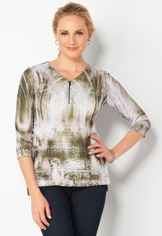 Architectural Printed Petite Knit Top at Christopher & Banks in Charleston, WV | Tuggl