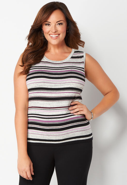 Striped Perfect Tank Plus Size Sweater at Christopher & Banks in Charleston, WV | Tuggl