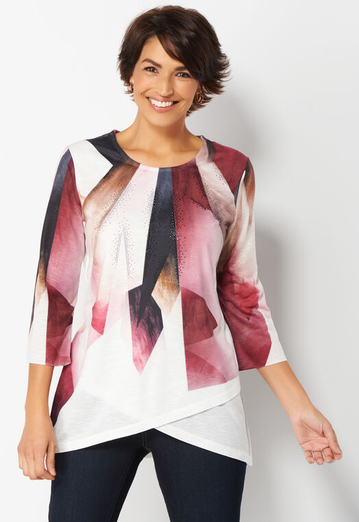 Graphic Lines Petite Printed Knit Top at Christopher & Banks in Charleston, WV | Tuggl