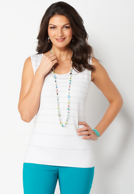 Pointelle Stripe Petite Tank at Christopher & Banks in Charleston, WV | Tuggl