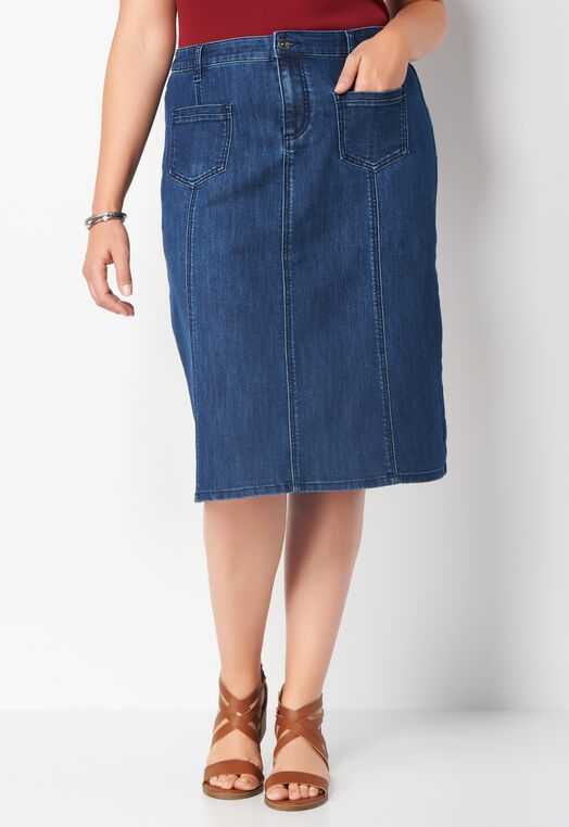 Patch Pocket Denim Plus Size Skirt at Christopher & Banks in Charleston, WV | Tuggl
