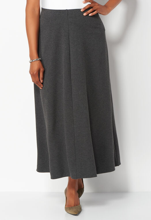 Heathered Ponte Plus Size Maxi Skirt at Christopher & Banks in Charleston, WV | Tuggl
