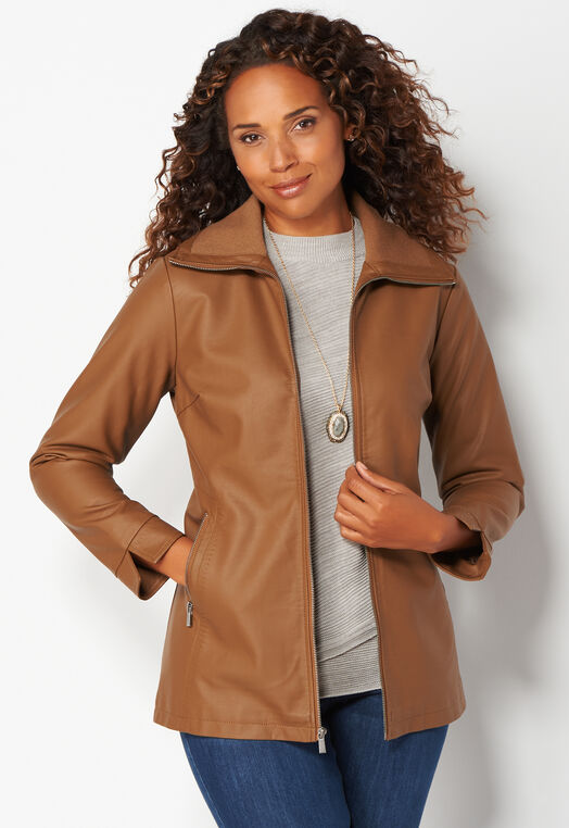 Faux Leather Topper Jacket at Christopher & Banks in Charleston, WV   Tuggl
