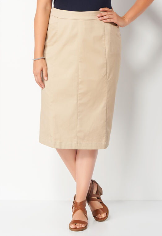 Solid Twill Plus Size Skirt at Christopher & Banks in Charleston, WV | Tuggl